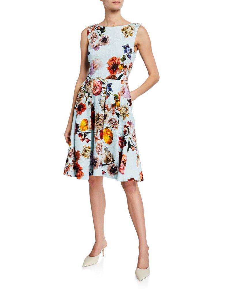 Monique Lhuillier Floral-Print Jacquard Cocktail Dress