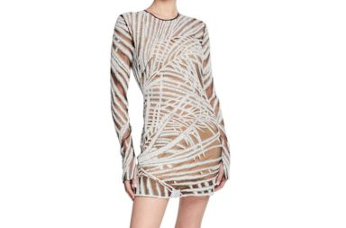 Naeem Khan Long-Sleeve Palm-Leaf Illusion Dress