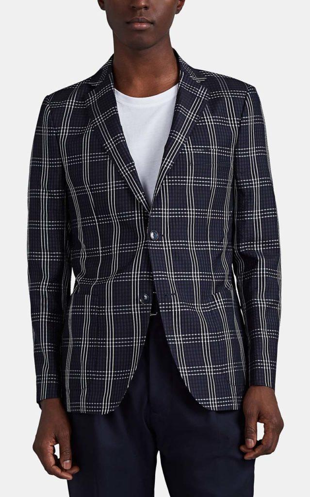 Officine Générale Plaid Silk Seersucker Two-Button Sportcoat_1