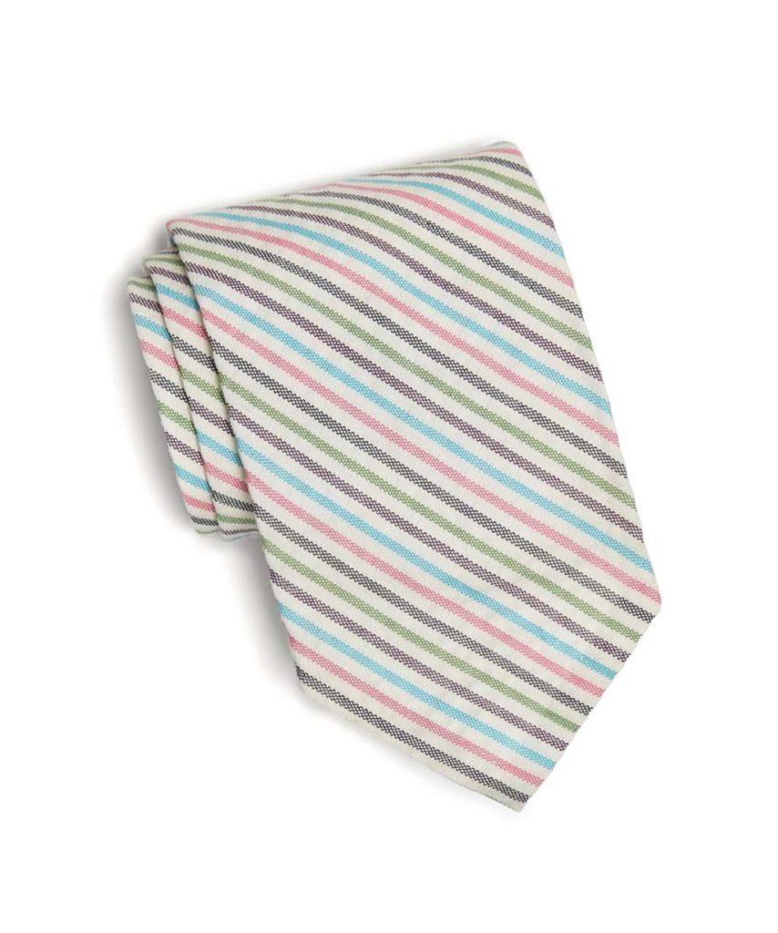 Todd Snyder Cotton Multi Stripe Seersucker Tie