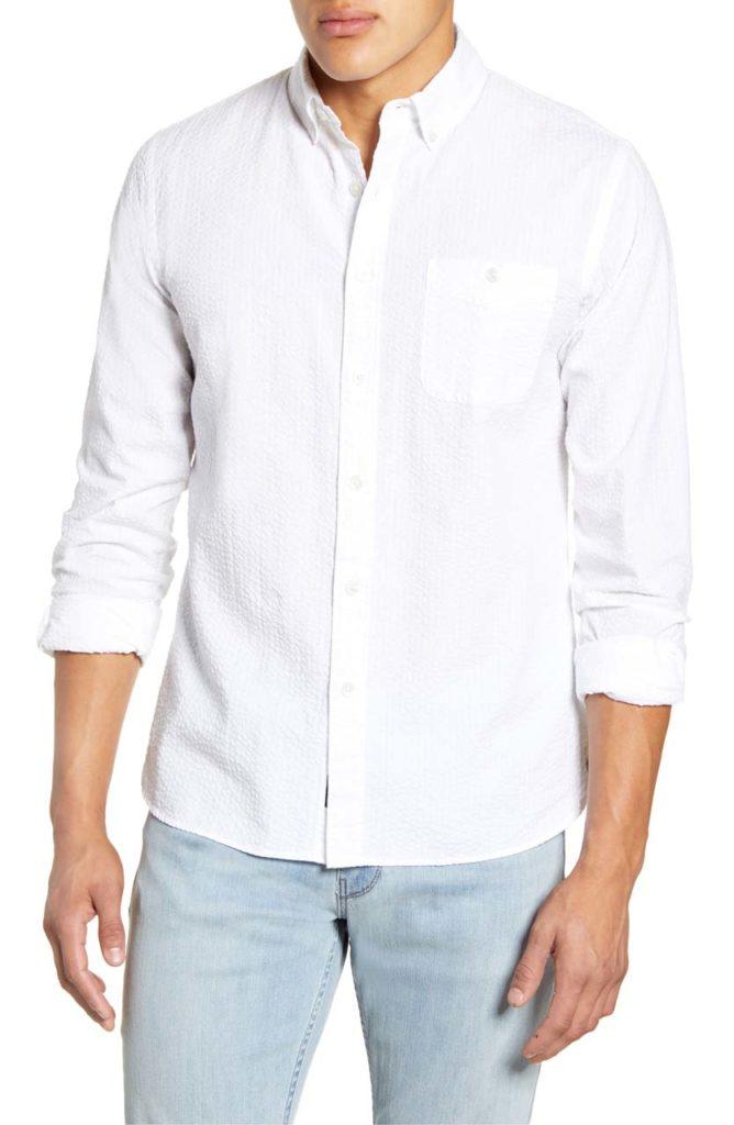 Todd Snyder Slim Fit Seersucker Button-Down Sport Shirt