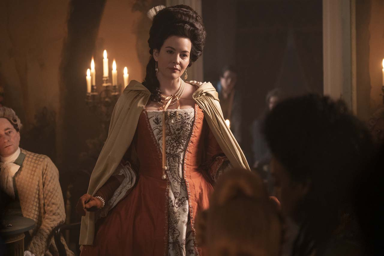 HARLOTS -- Set against the backdrop of 18th century Georgian London, Harlots continues to follow the fortunes of the Wells family. Set a year after the dramatic events of Season 2, Margaret (Samantha Morton) has been sent to America in chains and Lydia Quigley (Lesley Manville) is vanquished and in Bedlam. It seems that the Wells girls can finally free themselves of their mother's feud, helped by allies such as Lady Fitz (Liv Tyler). But Charlotte Wells (Jessica Brown-Findlay) soon learns that running a lucrative brothel brings enemies as well as friends, including new pimp in town Isaac Pincher (Alfie Allen). Meanwhile Lydia still finds a way to bite, even in her darkest hour. Lady Isabella Fitzwilliam (Liv Tyler), shown. (Photo by: Liam Daniel/Hulu)