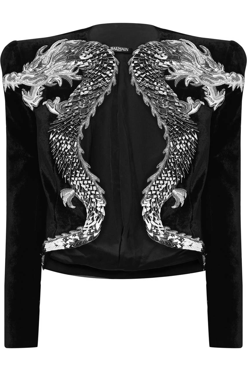 Balmain Cropped Appliqued Embellished Velvet Jacket