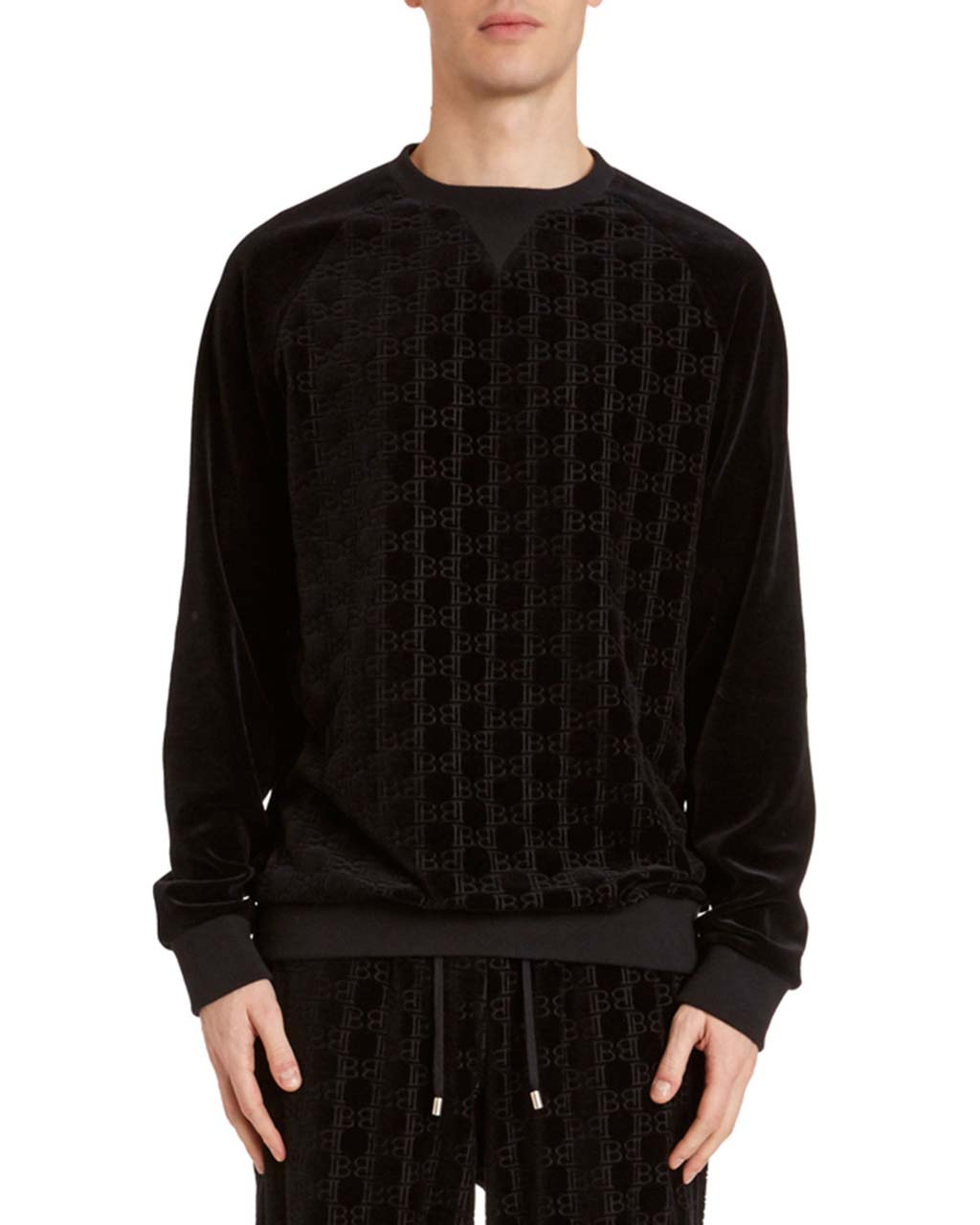 Balmain Men's Velvet Monogram Sweatshirt