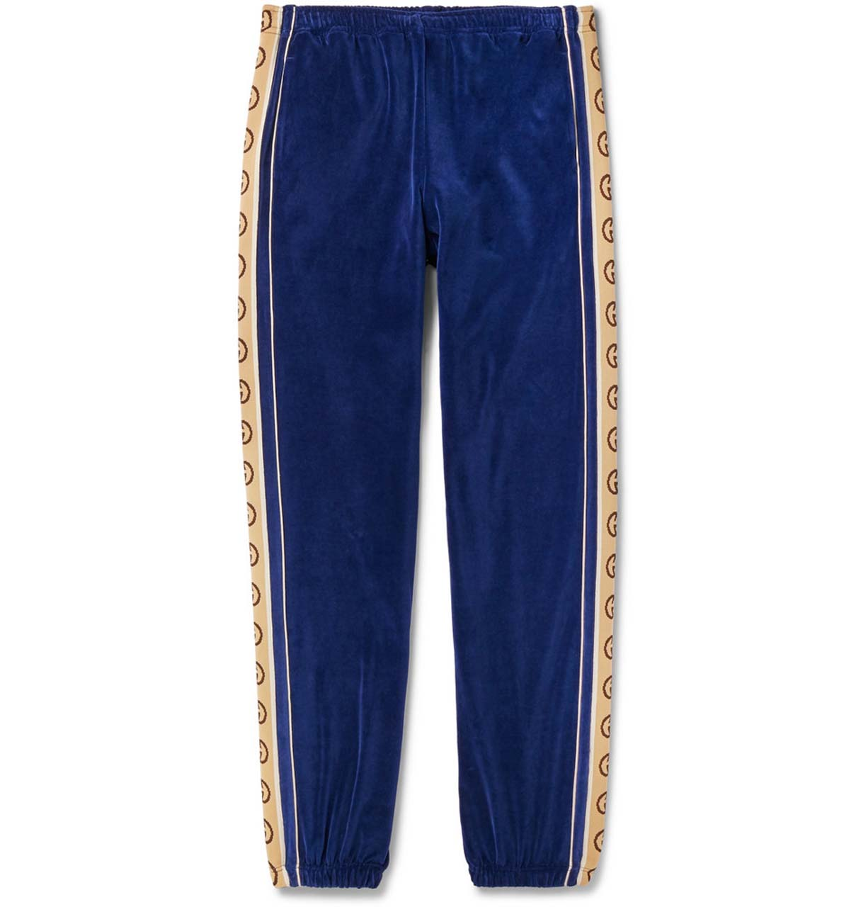 Gucci Tapered Logo-Appliquéd Webbing-Trimmed Piped Velvet Sweatpants