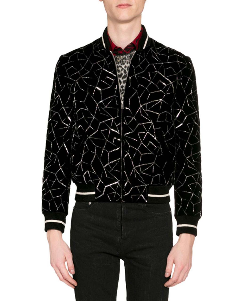 Saint Laurent Men's Teddy Embroidered Velvet Bomber Jacket